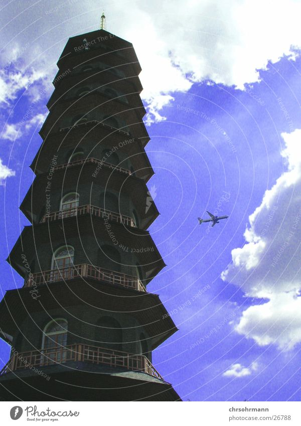 Sky Blue Clouds Architecture Airplane Tower London Japan England Botanical gardens