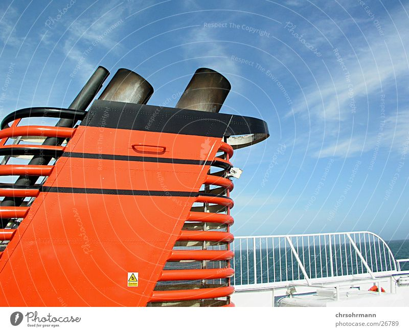 ship deck Watercraft Ferry Exhaust Chimney Ocean Clouds Red Navigation tail pipe Parking level Blue sky beautiful day Sun