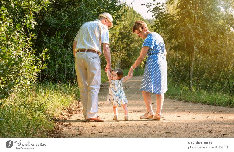 Grandparents and baby grandchild walking outdoors Woman Child Human being Nature Man Old Summer Lifestyle Adults Funny Family & Relations Happy Together Park