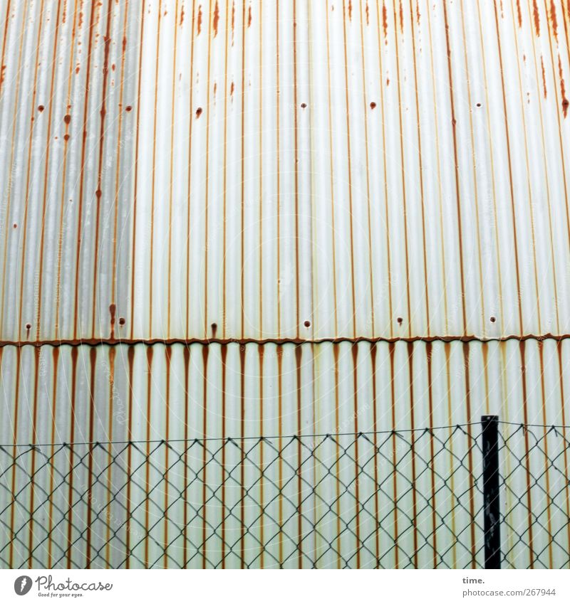 metal ensemble Deserted Industrial plant Wall (barrier) Wall (building) Roof Fence Fence post Wire netting Wire netting fence Corrugated sheet iron