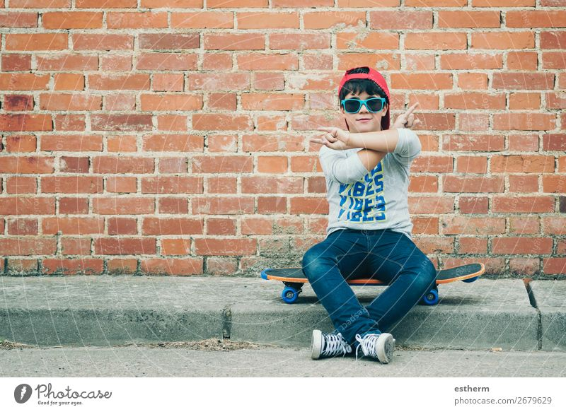 child with skateboard in the street Lifestyle Joy Leisure and hobbies Adventure Freedom Summer Sports Fitness Sports Training Success Human being Masculine