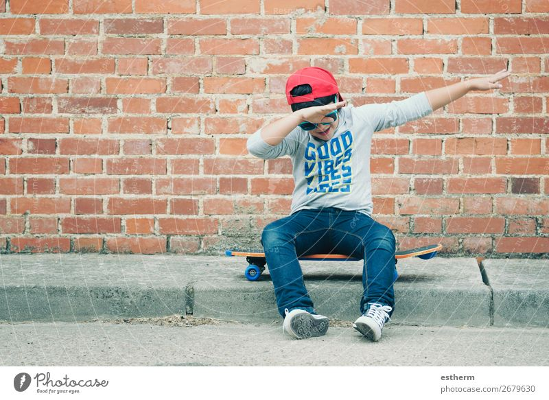 child with skateboard in the street Lifestyle Joy Happy Leisure and hobbies Freedom Summer Sports Fitness Sports Training Success Child School Human being