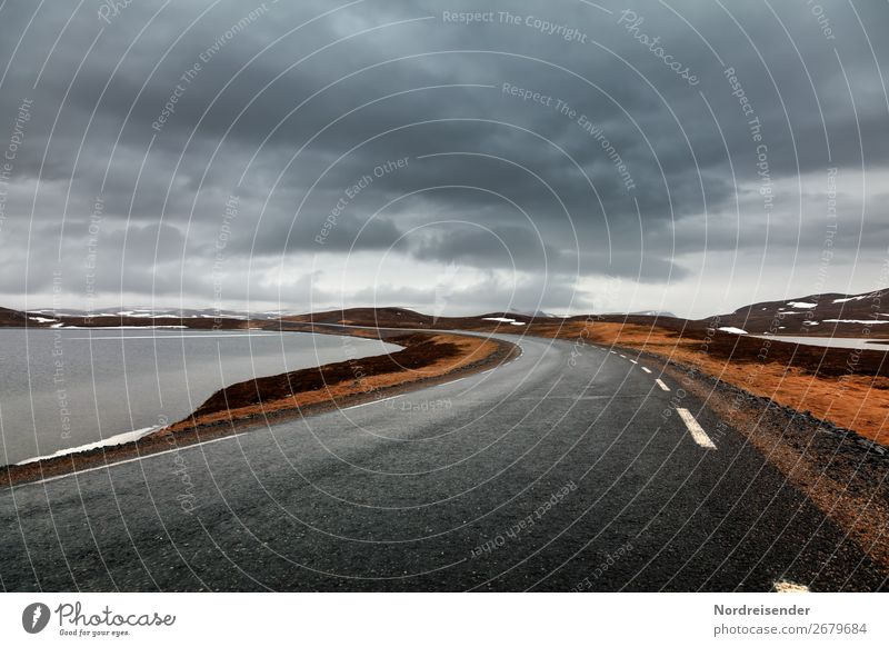 On the way in Finnmark Vacation & Travel Tourism Adventure Far-off places Freedom Nature Landscape Elements Water Clouds Climate Rain Lake Deserted
