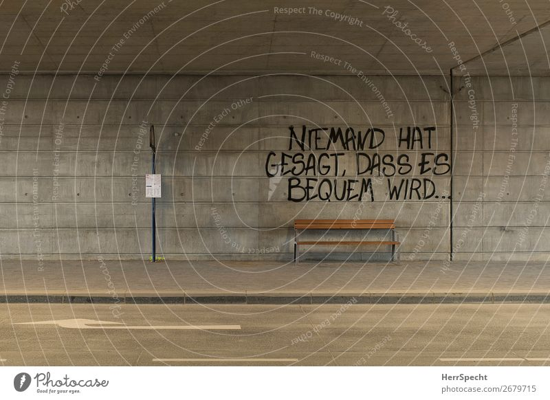 wood class Transport Passenger traffic Public transit Bus travel Tunnel Concrete Characters Graffiti Funny Gloomy Town Gray Stop (public transport) Bench