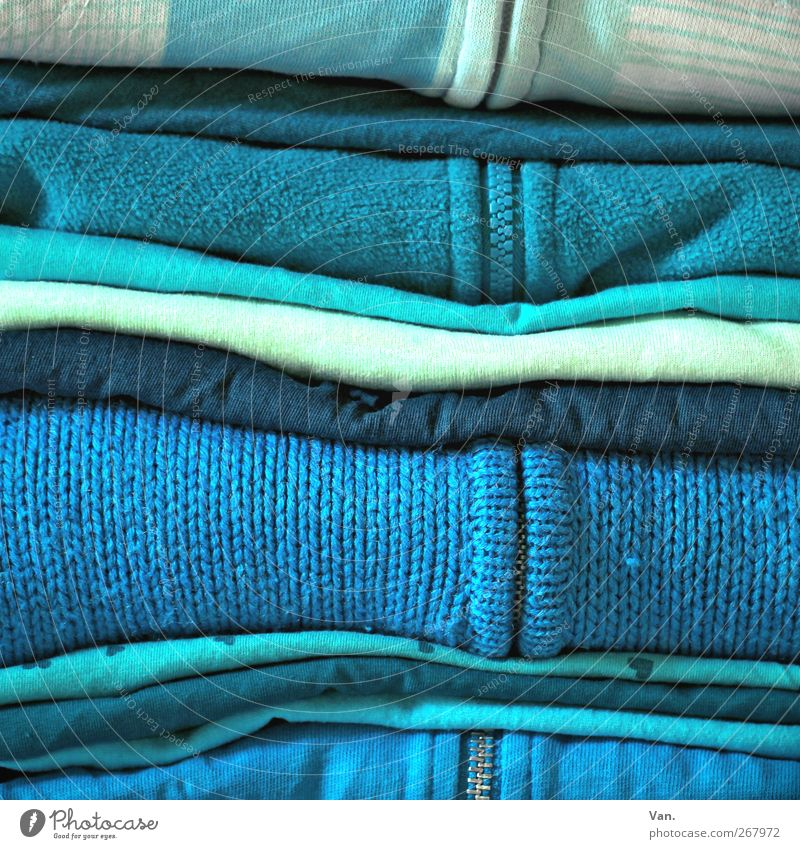 Blue, yes blue are all my clothes... Fashion Clothing T-shirt Sweater Jacket Zipper White Turquoise Light blue Colour photo Multicoloured Interior shot Detail