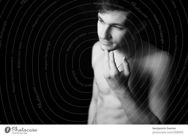 enough? Masculine Young man Youth (Young adults) 1 Human being Touch Think Stand Identity Black & white photo Studio shot Copy Space left Neutral Background