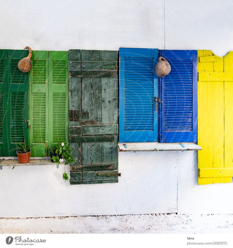 shutters variegated Protection House (Residential Structure) Screening Deserted Crete