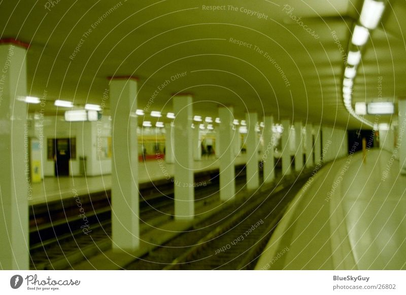 come in Tunnel Railroad tracks Underground Means of transport Dark Subsoil Architecture Train station