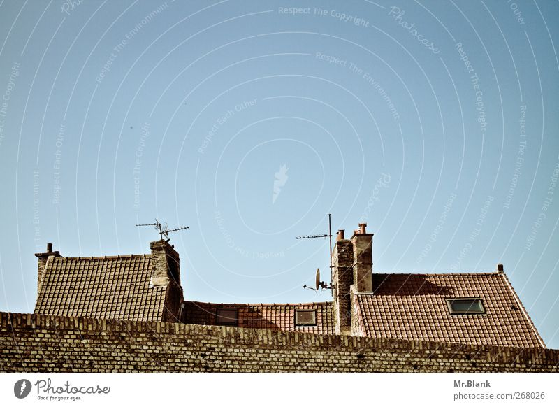 Blue Old House (Residential Structure) Wall (barrier) Brown Roof Europe Village France Chimney Antenna