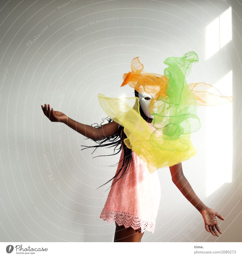 Magic trick with suspended particles Room Feminine Girl 1 Human being Art Stage play Dance Juggle Mask Dress Cloth Black-haired Long-haired Afro Observe Flying