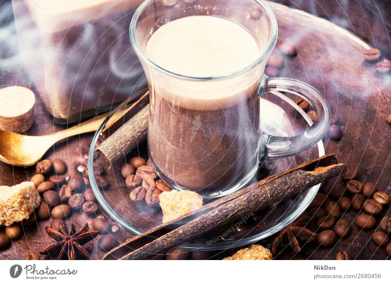 Hot coffee cup with coffee beans drink espresso brown cafe caffeine aroma hot dark morning mug roasted beverage vintage latte mocha close style steam aromatic