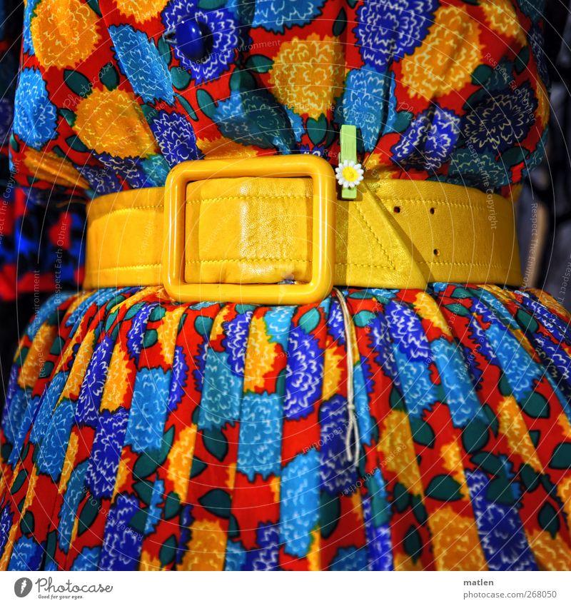 hold their breath... Fashion Dress Cloth Belt Blue Yellow Red Waist Flower Statue Folds Colour photo Multicoloured Interior shot
