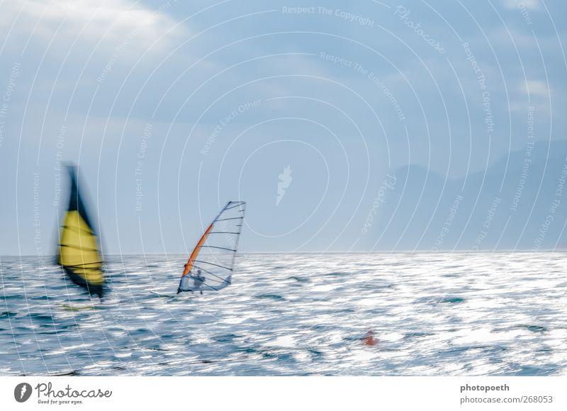 Windsurfers in Torbole, Lake Garda 02 Waves Mountain Sports Aquatics Sportsperson Nature Water Horizon Alps Lakeside Movement Athletic Speed Blue Brown