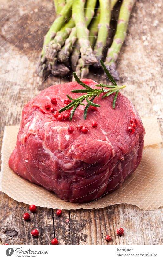 excow Food Meat Vegetable Juicy Clean Steak Beef Rosemary Asparagus Pepper Peppercorn Wood Wooden board Paper Red Raw Green green asparagus Cooking Nutrition