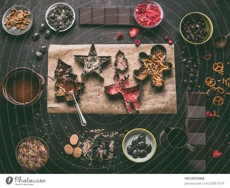 Homemade chocolate for Christmas Food Candy Chocolate Nutrition Banquet Crockery Shopping Style Design Winter Living or residing Decoration Table Kitchen Party