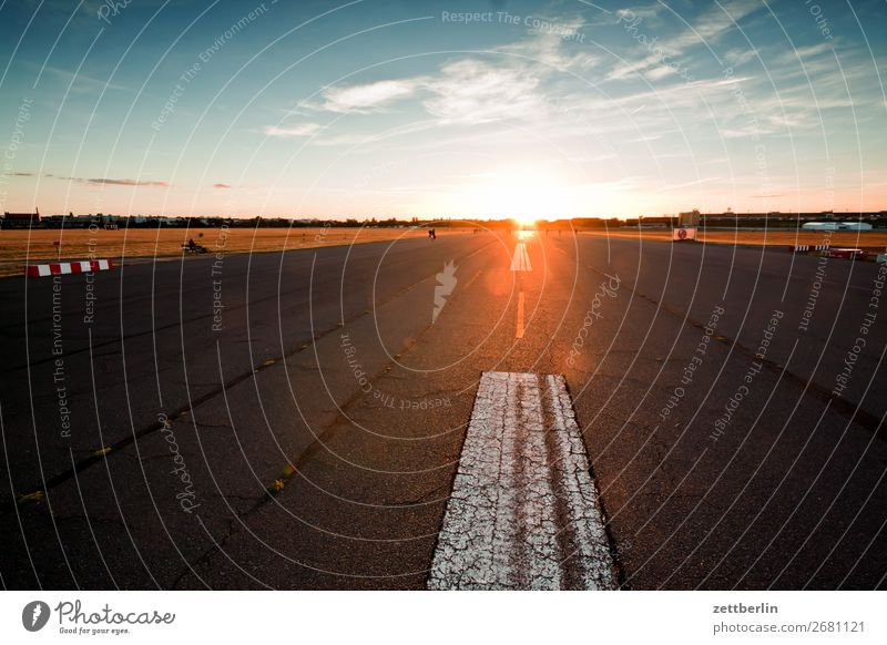 Sky Heaven Far-off places Berlin Copy Space Horizon Perspective Romance Dusk Airport Play of colours Closing time Dazzle Runway Evening sun Spectral