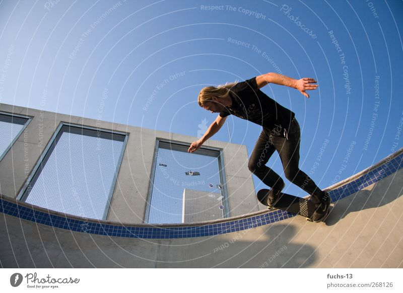 skater Leisure and hobbies Sports Funsport Skateboarding Skate park Halfpipe Masculine 1 Human being Driving Flying Jump Athletic Hip & trendy Joy Freedom