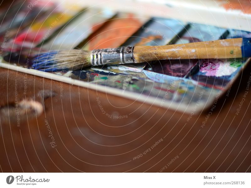 Tool of my passion Leisure and hobbies Art Dirty Multicoloured Colour Creativity Paintbrush Paintbox Dye Painting (action, artwork) Second-hand Interior shot