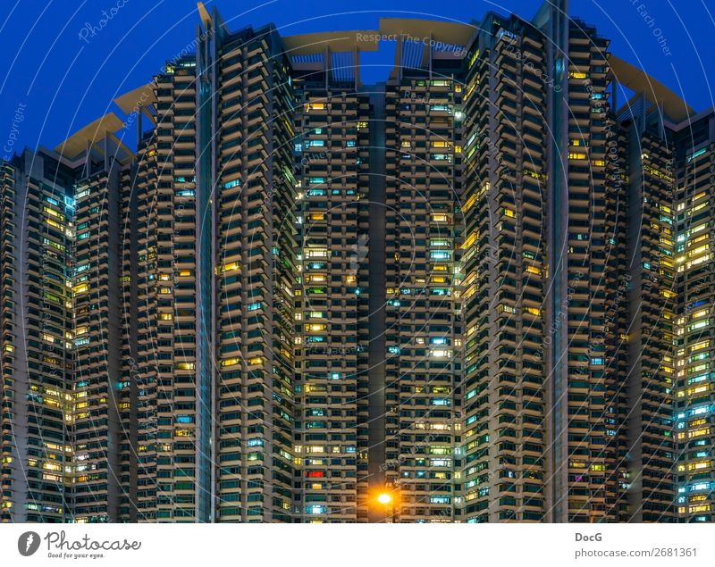 Hong Kong - South West - tower blocks at blue hour Town Skyline Overpopulated House (Residential Structure) Manmade structures Building Architecture Facade