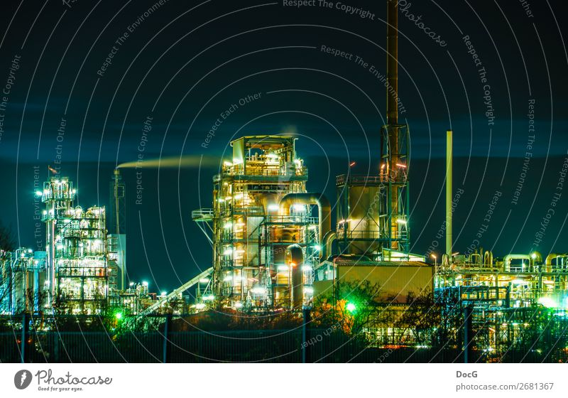 Chemical Factory at Night Technology Science & Research Advancement Future High-tech Energy industry Industry Chemical Industry Chemical factory Metal