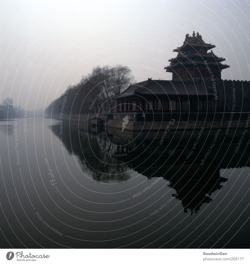 Forbidden City. Town Capital city Downtown Outskirts House (Residential Structure) Facade Tourist Attraction Landmark Monument Forbidden city Dark Large Cold
