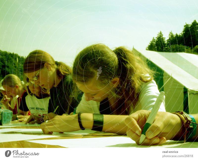 Woman Youth (Young adults) Beautiful Table Write Pen Ballpoint pen