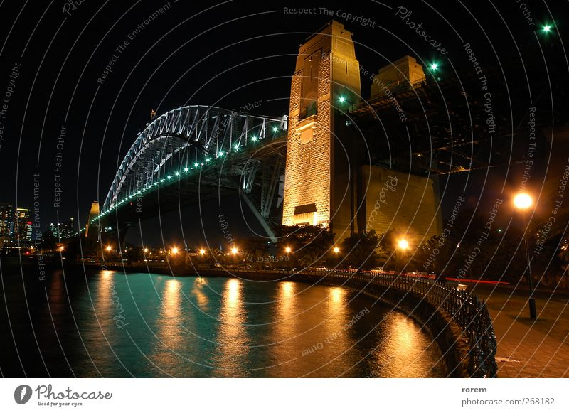 Harbour Bridge Vacation & Travel Tourism Australia Town Skyline water Sydney Icon landmark colorful Dusk Jetty wooden port bay Colour photo Exterior shot