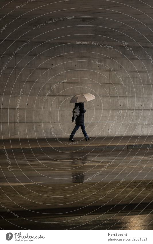 Indoor rain Human being Adults Body 1 Bad weather Rain Town Manmade structures Wall (barrier) Wall (building) Concrete Funny Gray Umbrella Going Pedestrian