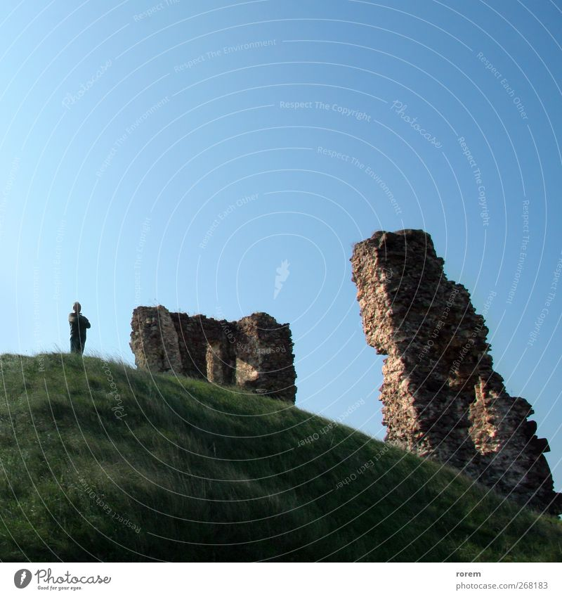 castle ruins Man Old Vacation & Travel Adults Architecture Stone Tourism Trip Europe Hill Historic Castle Decline Ruin Cloudless sky Tourist