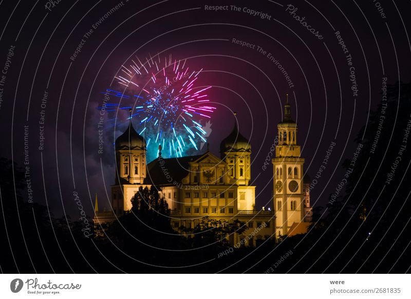fireworks over the illuminated Augsburg Town Hall Elegant Event Art Old town City hall Exceptional Glittering Luxury Firecracker celebration new year's eve