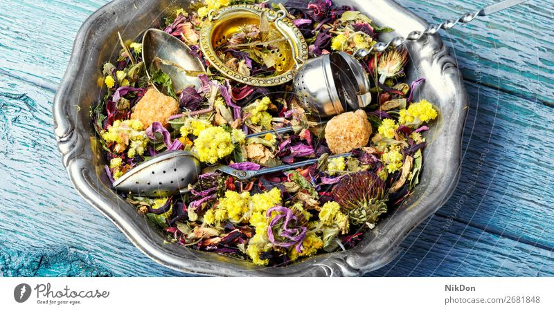 Dry herb tea leaf drink healthy natural dry herbal antioxidant plant flower aromatic spoon heap petal medicine hibiscus asian relaxation mix scoop freshness