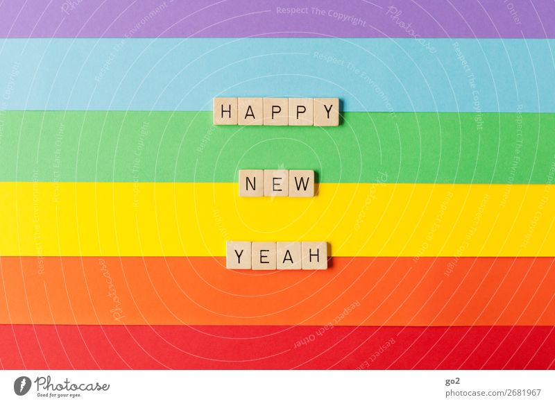 Happy New Yeah Playing Feasts & Celebrations New Year's Eve Birthday Paper Decoration Wood Characters Esthetic Friendliness Happiness Infinity Uniqueness