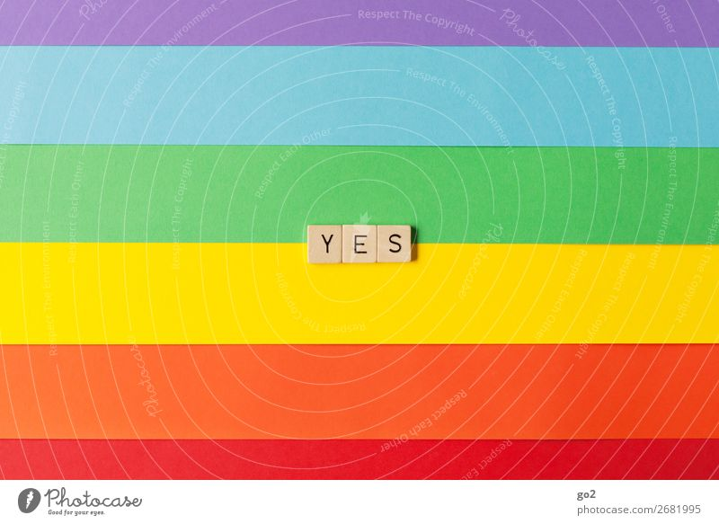 yes Playing Feasts & Celebrations Wedding Paper Wood Sign Characters Esthetic Positive Multicoloured Emotions Joy Happy Happiness Joie de vivre (Vitality)