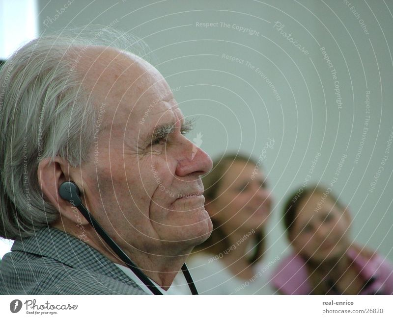 Grandpa and his girls Grandfather Senior citizen Youth (Young adults) Hearing aid Man Male senior as old as the hills