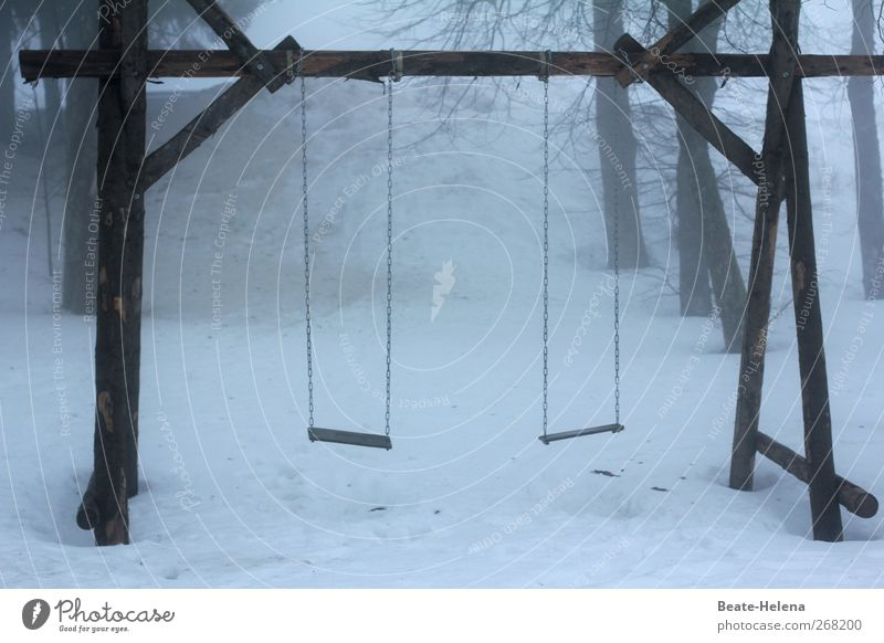 The calm before the storm Winter Wood White Swing Deserted Unused Colour photo Exterior shot Twilight Light Snow Playground Gloomy Dreary Gray