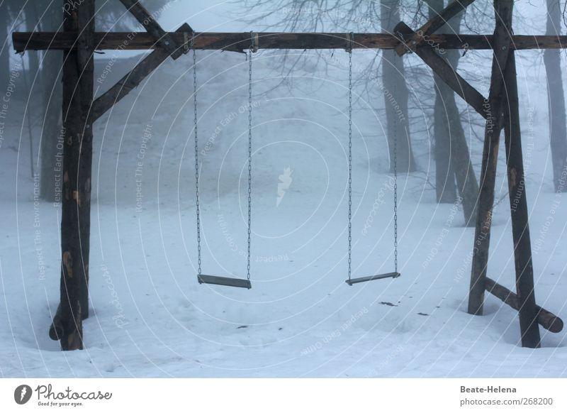 White Winter Snow Wood Gray Gloomy Swing Playground Dreary Unused