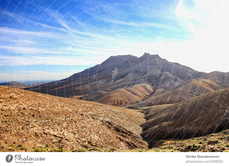 Earth without lifting Vacation & Travel Tourism Island Mountain Hiking Nature Landscape Sand Sky Spring Beautiful weather Hill Rock Peak Volcano Fuerteventura