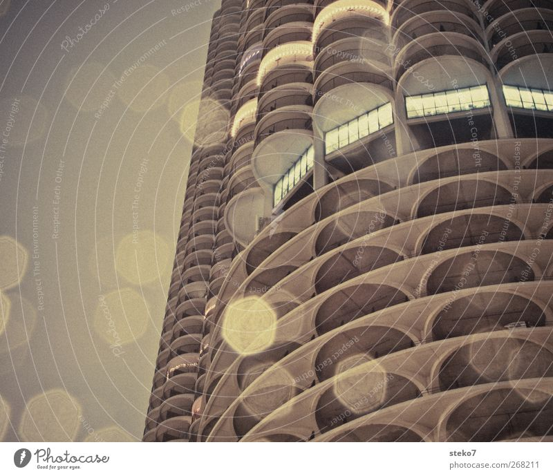 concrete lights Town High-rise Living or residing Gloomy Brown Gray Chicago Light Rain Subdued colour Exterior shot Deserted Copy Space left Night
