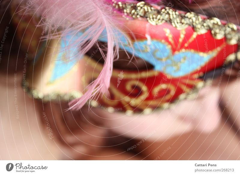 illusions of herself Carnival Feminine 1 Human being Accessory Mask Bright Uniqueness Thin Multicoloured Cool (slang) Loneliness Hide Unidentified