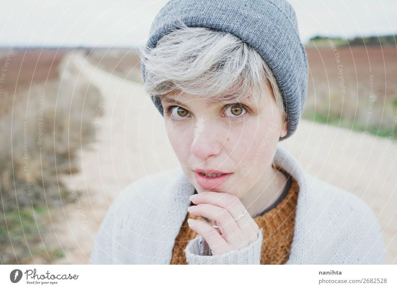 Woman with short and gray hair Human being Youth (Young adults) Beautiful Landscape Clouds Loneliness Winter 18 - 30 years Face Lifestyle Adults Autumn Natural