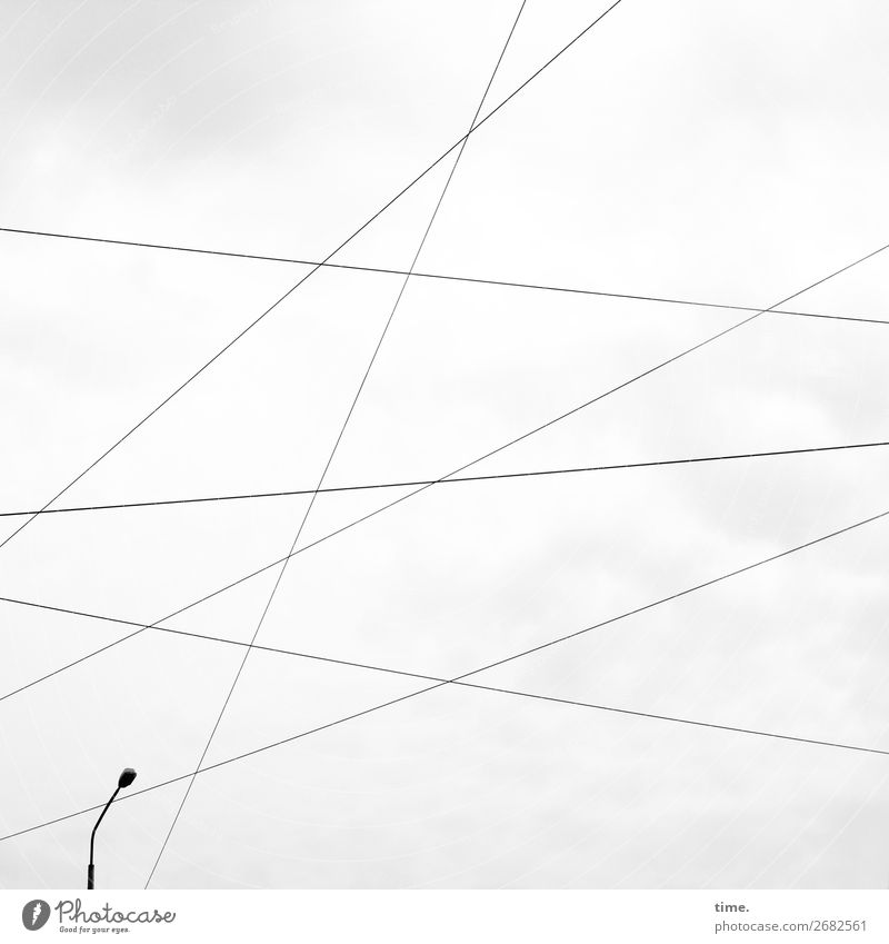 Sky Clouds Lanes & trails Together Gray Line Energy industry Technology Power Esthetic Safety Logistics Cable Street lighting Network Information Technology