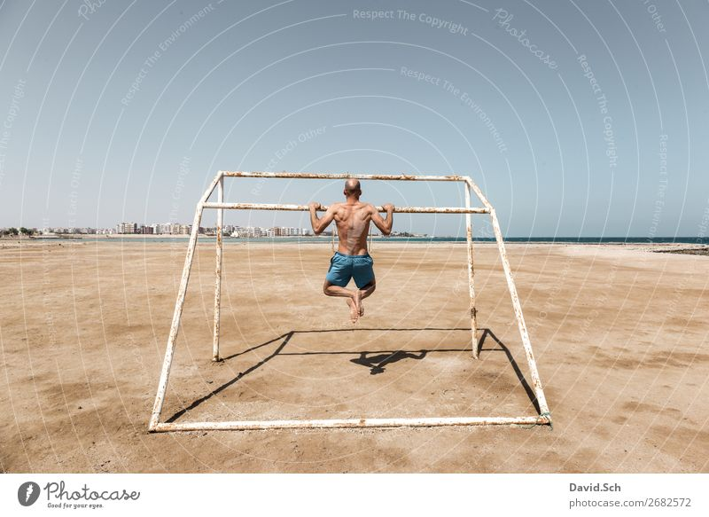 Human being Man Summer Ocean Beach Healthy Adults Sports Movement Masculine Body Back Fitness Athletic Strong Sports Training