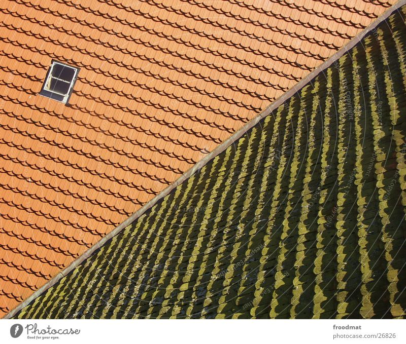old - new - diagonal Roof Converse Diagonal Skylight Pattern Bird's-eye view Window Opposite Architecture roof tiles Structures and shapes Crazy