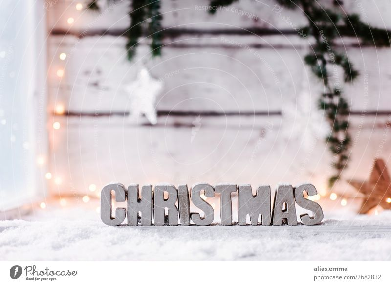 Christmas background with the word *Christmas* made of concrete Snow Winter vacation Decoration Christmas & Advent Concrete Wood Sign Characters