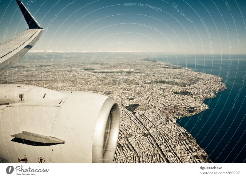 Sky Water City Ocean Landscape Coast Air Flying Airplane Aviation Beautiful weather Cloudless sky Port City Passenger plane In the plane