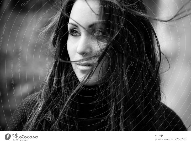 2012 Feminine Young woman Youth (Young adults) Hair and hairstyles Human being 18 - 30 years Adults Beautiful Wind Black & white photo Exterior shot Day Light