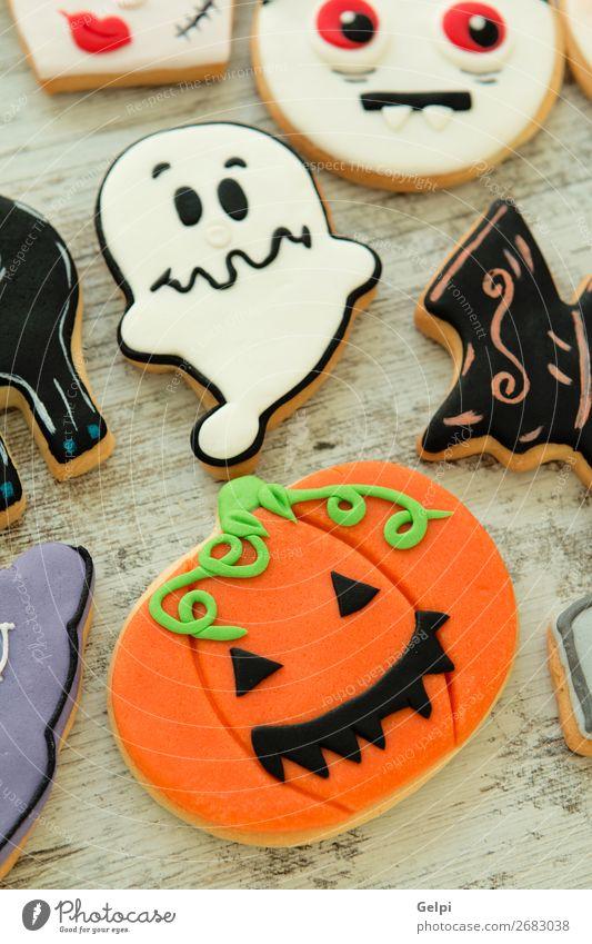 Halloween cookies with different shapes Dessert Joy Decoration Table Feasts & Celebrations Hallowe'en Autumn Cat Smiling Creepy Delicious Black White Fear