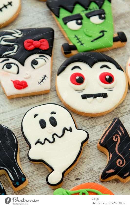 Halloween cookies with different shapes White Joy Black Face Wood Autumn Feasts & Celebrations Copy Space Brown Decoration Fear Smiling Table Delicious