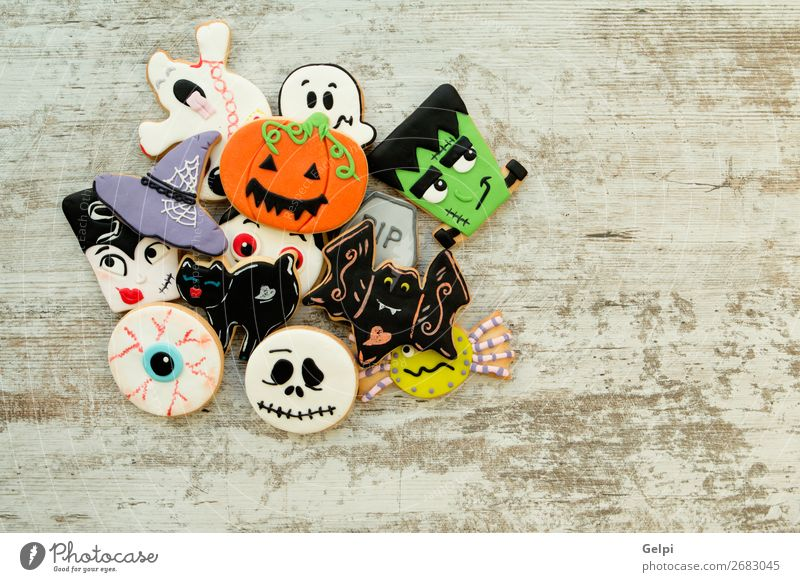 Halloween cookies with different shapes Cat White Joy Black Autumn Feasts & Celebrations Copy Space Decoration Fear Smiling Table Delicious Tradition Dessert