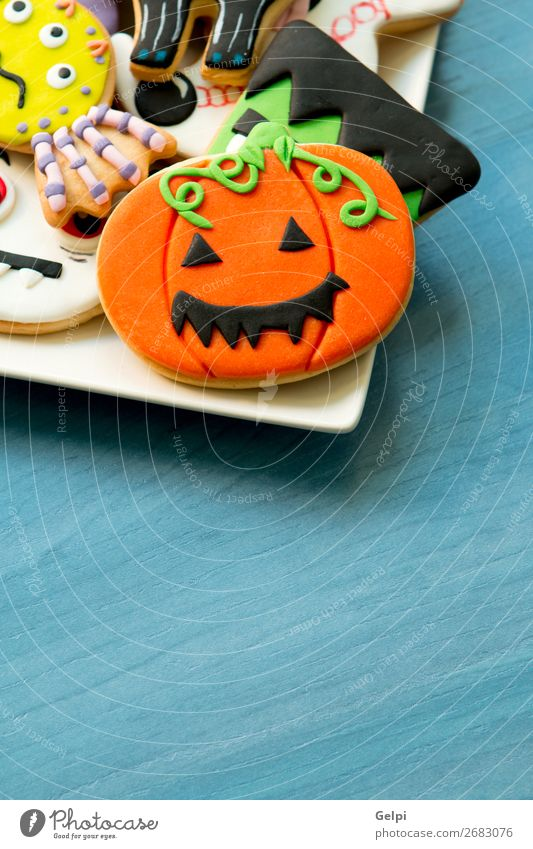 Halloween cookies with different shapes Cat Joy Black Face Wood Autumn Feasts & Celebrations Decoration Fear Table Delicious Tradition Dessert Creepy